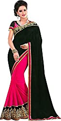 Trishulom Cloth's Online Women's Georgette Sarees With Blouse Piece (Black)