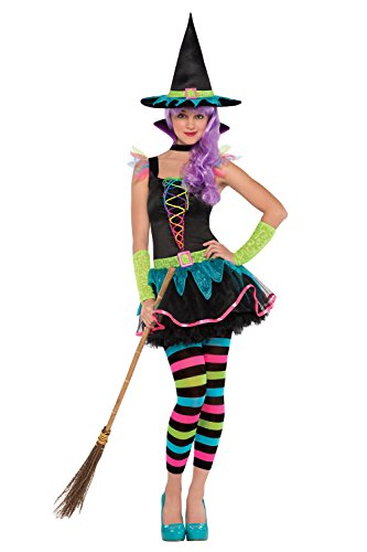 Girls Miss Matched Neon Witch Fancy Dress Teens Halloween Outfit