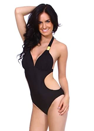 One Piece Sexy Women's Halter Side Cut Out Monokini