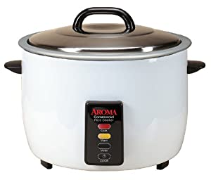 Aroma 48-Cup (Cooked) Commercial Rice Cooker, White