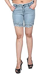 Nifty Women's Denim Shorts (1311, Grey, 32)