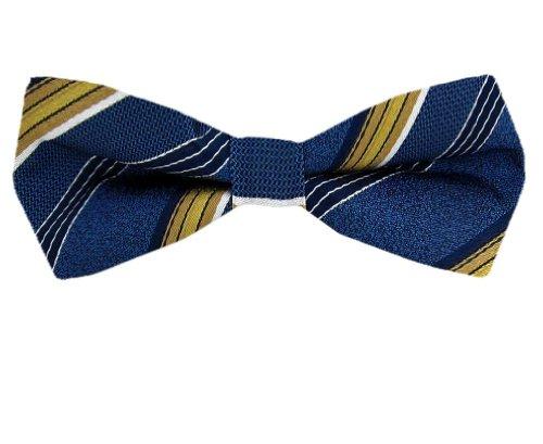 Fbt-Sk-10296 - Gold - Black - Mens Slim Self Tie Bow Tie