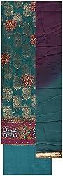 Gunjan Women's Brocade & Georgette Unstitched Salwar Suit (Ferozi Blue)
