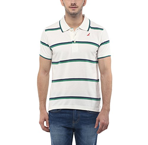 American-Crew-Mens-Polo-Collar-Stripes-T-Shirt-White-Blue-Green