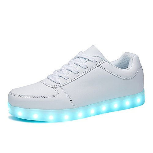 SANYES USB Charging LED Light Up Shoes Sports Dancing Sneakers SYDB551-White-39