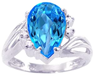 14K White Gold Pear Gemstone and Diamond Ring-Swiss Blue Topaz, size5.5