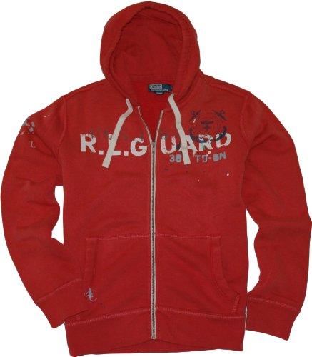 Polo Ralph Lauren Full Zip Fleece Printed Hoodie (Large, Surf Red)
