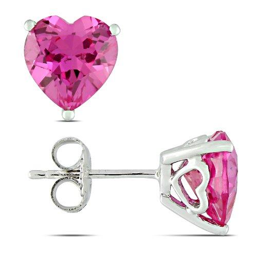 Sterling Silver 4 1/2 CT TGW Created Pink Sapphire Stud Earrings