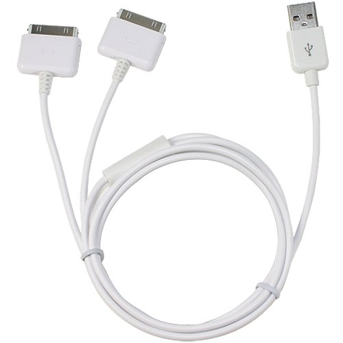 Dual iPhone / iPod Splitter Cable. Charge up to Two Apple Devices At Once From a Single USB Port