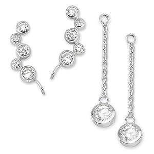 Jewels By Lux Set 14k White Gold Genuine Aquamarine 2.5 mm Friction Pair Polished Aquamarine Earrings With Backs