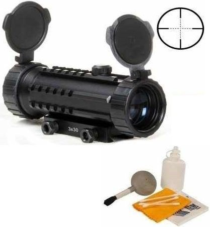 Ultimate Arms Gear Pro Series 3X30 P4 Etched Sniper Reticle Rangefinder Rifle-Shotgun Scope W/ Integral Tri Weaver-Picatinny System And Mounting Base