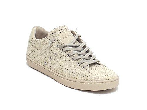 Leather Crown scarpa uomo, modello M136, sneaker in nabuk forato, colore beige