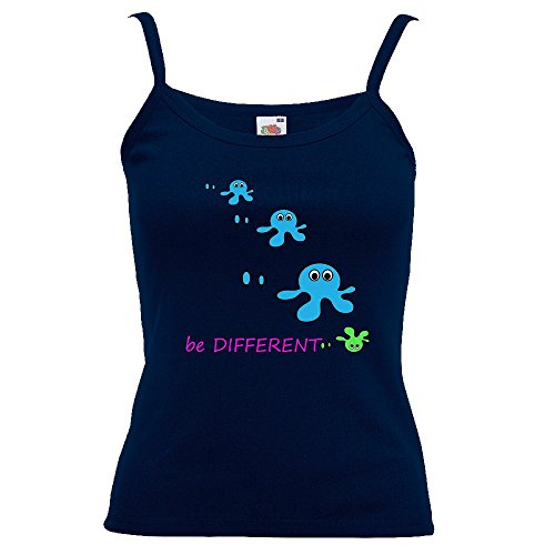 Divertente 028, Be Different, Blu Notte Fruit of the Loom Women Strap Tee Cotone Top e Canotte Spalline Donna con Design Colorato. Taglia XS.