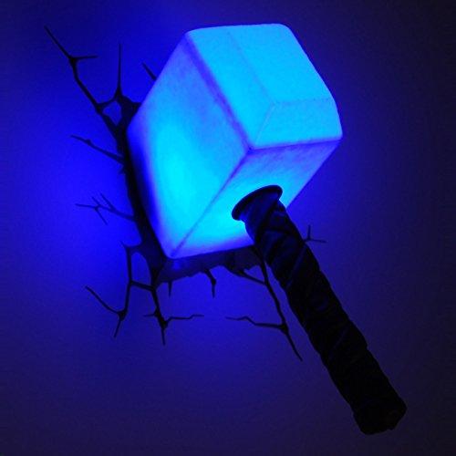 PHILIPS MARVEL LAMPADA DA PARETE 3D MARTELLO THOR AVENGERS - AVENGERS 3DLIGHTFX LED PHILIPS HAMMER OF THOR - LAMPADA A LED NOTTURNA PER ILLUMINARE DI DIVERTIMENTO LA CAMERETTA DEI VOSTRI BAMBINI