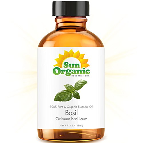 Basil - Large 4 Ounce - Organic, 100% Pure Essential Oil (Best 4 Fl Oz / 118Ml) - Sun Organic