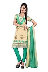 Parinaaz fashion Beige Chanderi Unstitched Dress Material