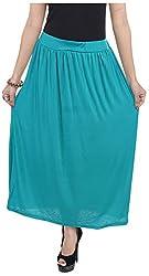 Soundarya Women's Cotton Lycra Skirt (Rama Green)
