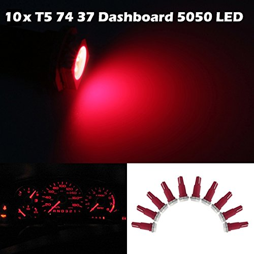 Partsam 10X Led Dashboard Instrument Light Bulbs Smd T5/286 Wedge Red 57 37 73 257 For 2004-2011 Acura Tl