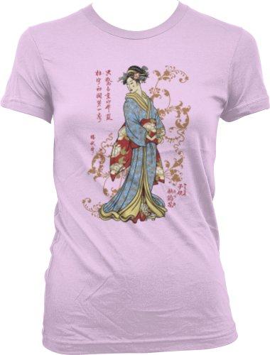 Japanese Geisha Juniors Tattoo T-Shirt, Old School Tattoo Style Design Juniors Geisha Tee, Medium, Pink