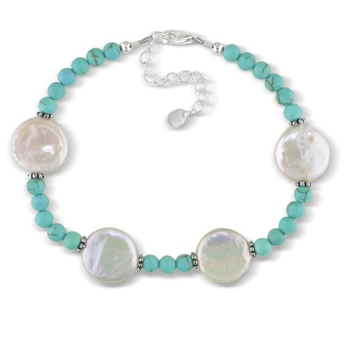 Sterling Silver Round Turquoise Bead Fresh Water White Coin Pearl Bracelet