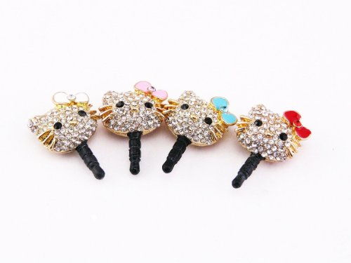 Hjx Crystal Rhinestones Hello Kitty Earphone Jack/Dust Plug For Iphone And Other Smartphones- All 3.5Mm Ear Jack (Bowknot Random Color)