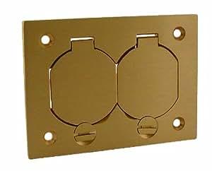 Raco 6250 1-Gang Rectangular Floor Box Duplex Brass Cover with Lift Lids