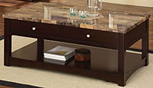 Acme 80018 Jas Faux Marble Lift Top Coffee Table, Espresso Finish