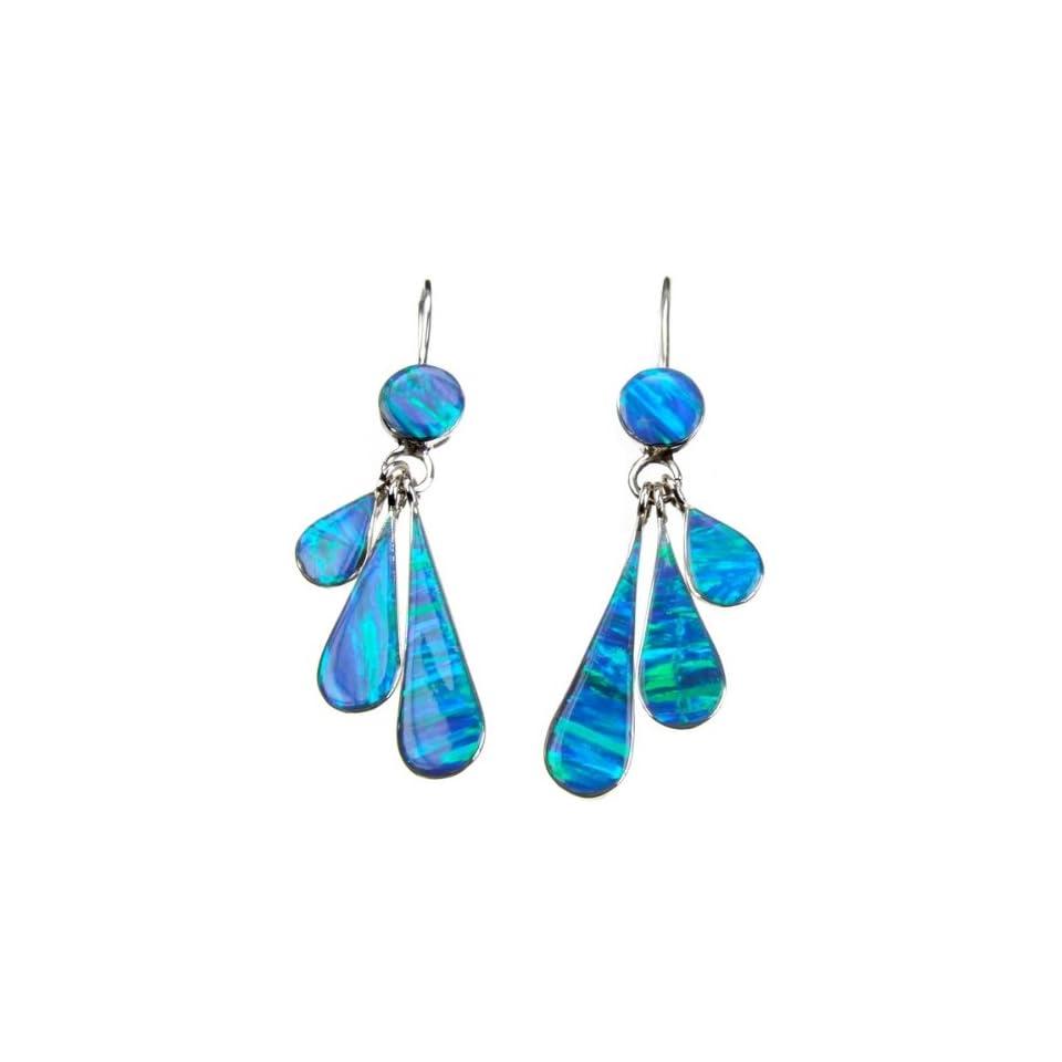 Mexican Opal Fan Silver Earrings