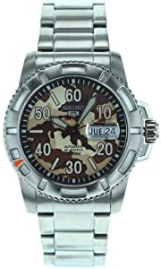 Seiko Men's SRP221 Stainless Steel Analog with Brown Dial Watch