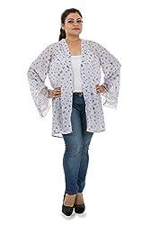 LastInch Women's Kimono Flower Jacket (LITJH109_Blue_Medium)