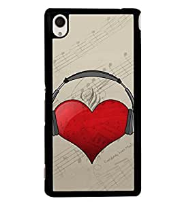 Heart with Headphone 2D Hard Polycarbonate Designer Back Case Cover for Sony Xperia M4 Aqua :: Sony Xperia M4 Aqua Dual