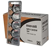 100 pc Maxell SR1130SW SR54 390 V390 Silver Oxide Watch Battery