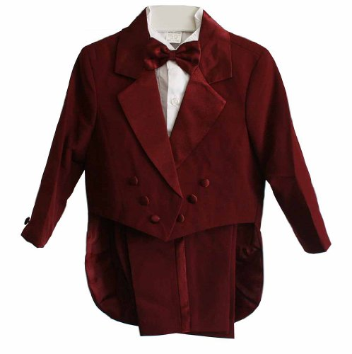 Burgundy & White Baby Boy & Boys Tuxedo Suit, Special occasion suit, Tailcoat, Pants, Shirt, Bowtie & Cummerbund