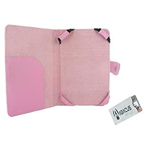 Brand New Stylish Protective Cover Folio Leather Case (Pink) for Amazon Kindle Fire Tablet PC (Comes with a Credit Card Secure Sleeve) - by Abacus24-7