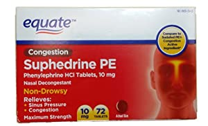 Equate Nasal Decongestant PE Phenylephrine HCl 10mg 72ct Compare to Sudafed PE
