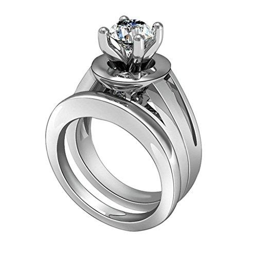 (Personalizzati Anelli)Adisaer Anelli Donna Argento 925 Anello Fidanzamento Incisione Gratuita Rotondo Singola Anello Diamante Taglia 15