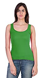 17Hills Women's Slim Fit Tank Top (Crps17005-M, Green, Medium)