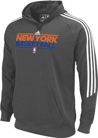 New York Knicks Adidas Grey Practice Hooded Sweatshirt by adidas