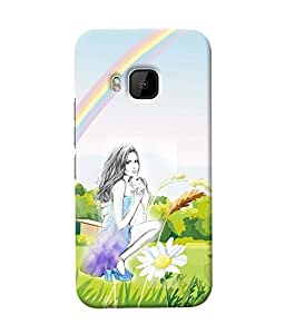 Fuson Rainbow Girl Back Case Cover for HTC ONE M9 - D4038
