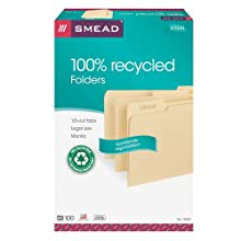 Smead File Folder 100% Recycled, 1/3-Cut Tab, Legal Size Manila, 100 per Box (15339)