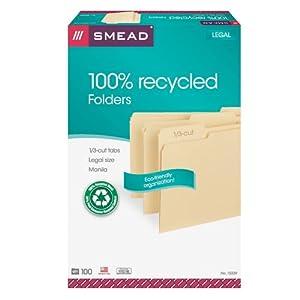 Smead File Folder 100% Recycled, 1/3-Cut Tab, Legal Size Manila, 100 per Box (15339)