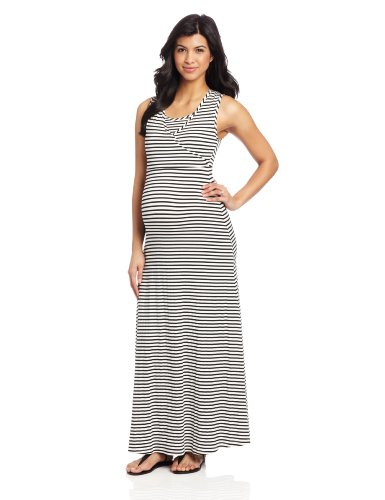 NOM Women's Maternity Surplice Nursing Tank Dress, Black Stripe, X-Large