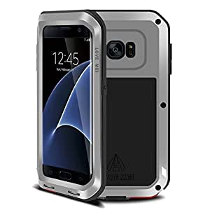 Galaxy s7 edge Waterproof case,Leebay Shockproof Dust/Dirt/Snow Proof Aluminum Metal Military Heavy Protection Case for S7 edge (Sliver)