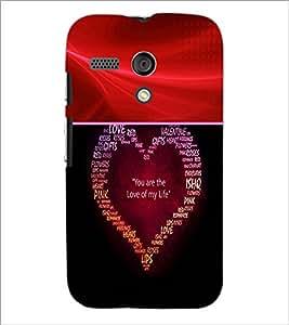 PrintDhaba Typographic Heart D-6050 Back Case Cover for MOTOROLA MOTO G (Multi-Coloured)