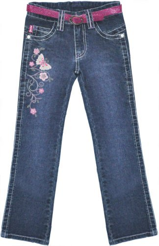 Girl's long jeans pants with belt