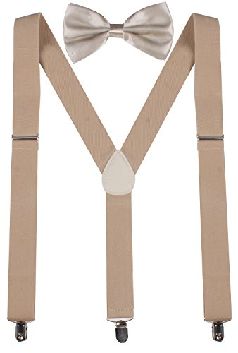 ORSKY Men Bow Ties and Khaki Suspenders for Men Regular - 46 inches Solid Khaki (Bow Ties Khaki compare prices)