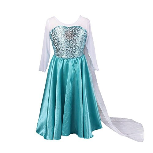 Buy Home Girls Snow Queen Frozen Costume Snow Princess Elsa Cosplay Dress