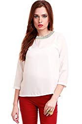 Blingy Neck Ivory Top