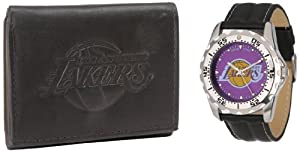 Game Time Mens NBA-WWG-LAL Los Angeles Lakers Analog Strap Watch and Wallet Set by Game Time