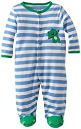Little Me Baby Boy Newborn Leap Frog Footie, Blue/White Stripe, 3 Months